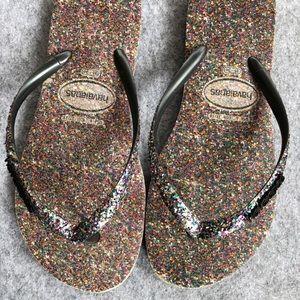 Havainas - Women's size 6 (35-36) - glitter